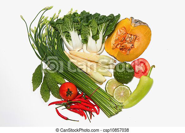 fruits and vegetables on white background - csp10857038