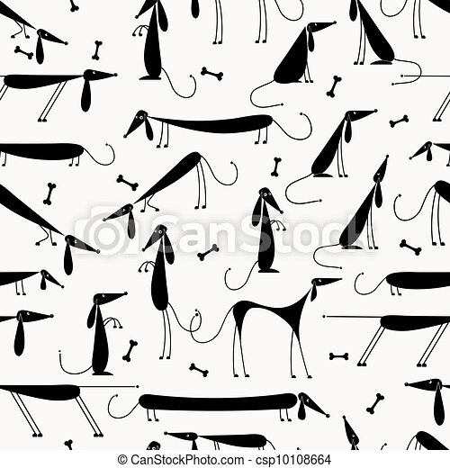 Funny black dogs, seamless background for your design - csp10108664