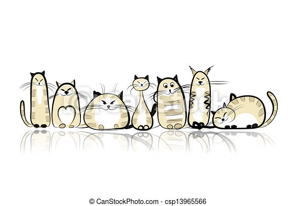 Funny cats family for your design - csp13965566