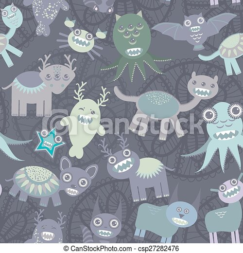 Funny monsters seamless pattern on dark background. Vector - csp27282476