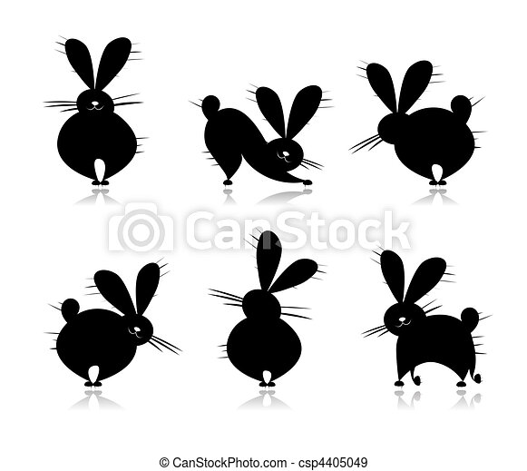 Funny rabbit's silhouettes for your design - csp4405049