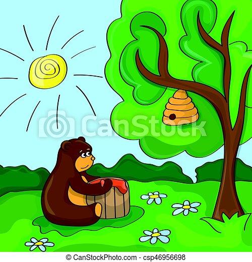 Funny vector cartoon - cute bear with honey - csp46956698