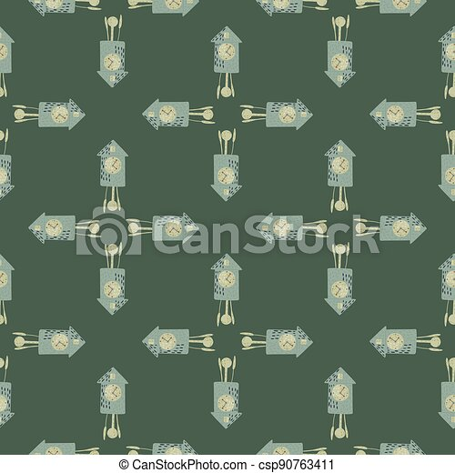 Geometric seamless pattern with abstract blue cuckoo clock ornament. Green dark background. Simple style. - csp90763411