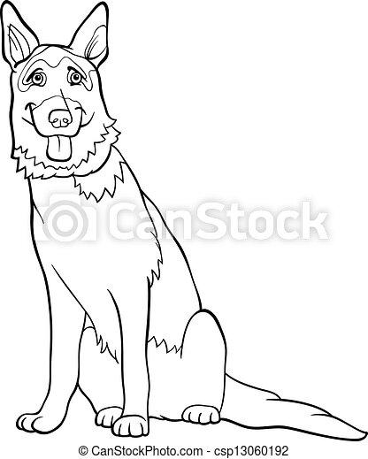 german shepherd dog cartoon for coloring - csp13060192