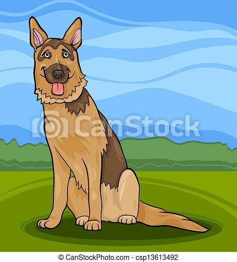 german shepherd dog cartoon illustration - csp13613492