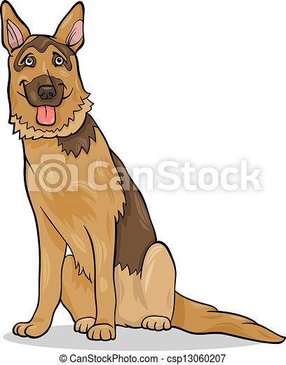 german shepherd dog cartoon illustration - csp13060207