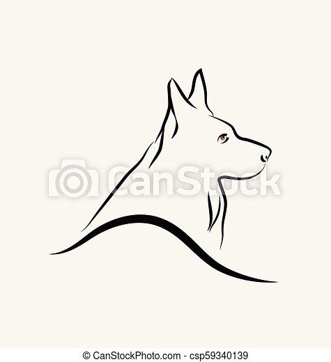 German Shepherd dog, line art vector - csp59340139
