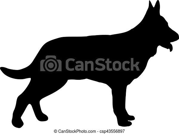 German Shepherd dog silhouette - csp43556897