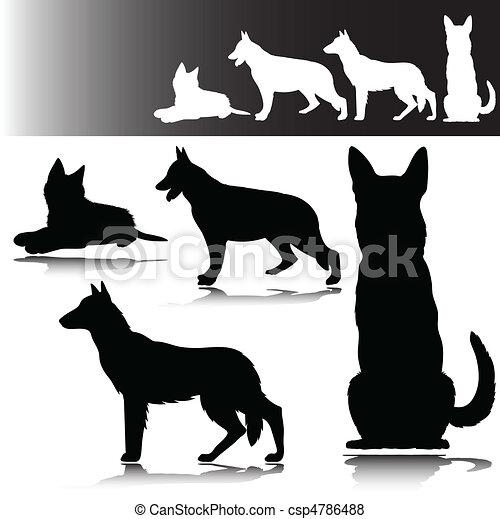 german shepherd vector silhouettes - csp4786488