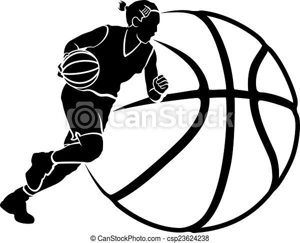 Girl Basketball Dribble Sihouette with Stylized Ball - csp23624238