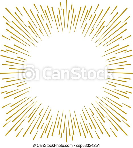 Gold firework design on white background with copy space - csp53324251
