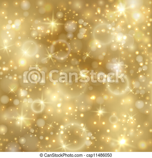Golden background with stars and twinkly lights - csp11486050