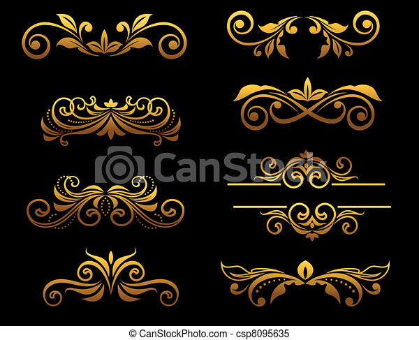 Golden vintage floral elements and borders - csp8095635