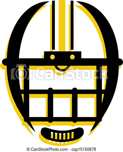 graphic outline of football helmet - csp15150678