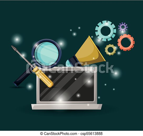 green dark background with brightness of laptop device and gears mechanism with magnifying glass and screwdriver tool - csp55613888