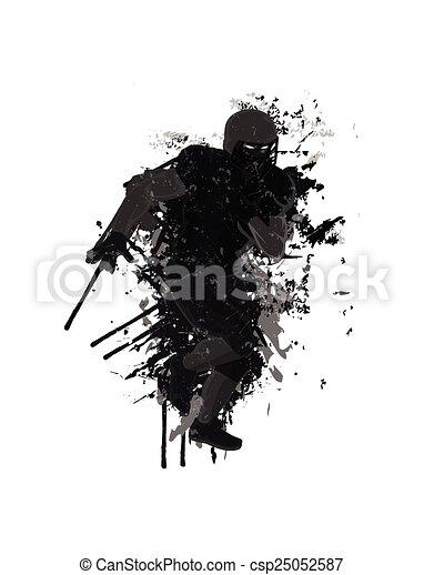 Grunge football player background - csp25052587