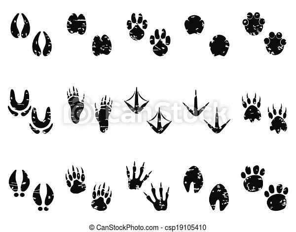 grungy Animal Footprint Track icon - csp19105410