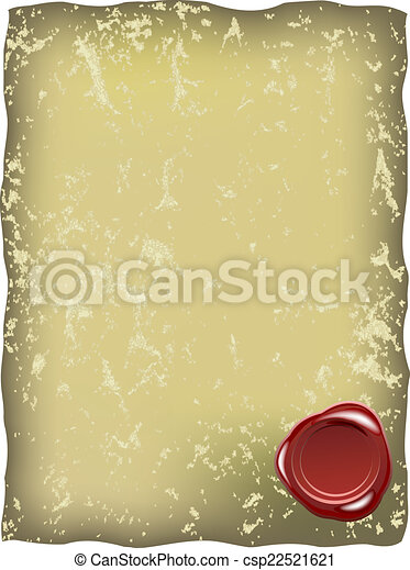 Grungy paper with red wax seal - csp22521621