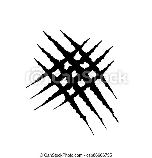 Hand drawn Animal's claws scratch scrape track, Cat tiger scratches paw shape doodle vector - csp86666735