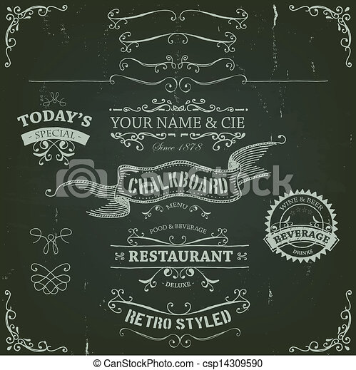 Hand Drawn Banners And Ribbons On Chalkboard - csp14309590