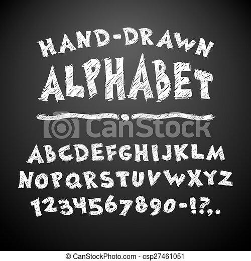 Hand Drawn Chalked Alphabet on Blackboard - csp27461051