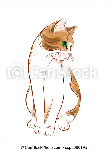 hand drawn portrait of ginger tabby cat - csp5060195