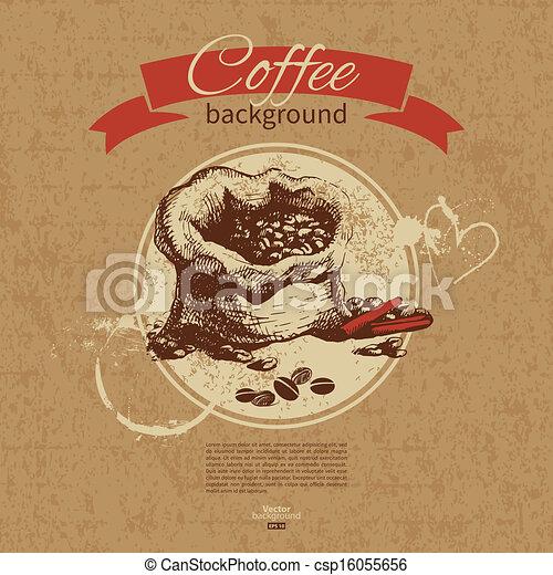 Hand drawn vintage coffee background. Menu for restaurant, cafe, bar, coffeehouse - csp16055656