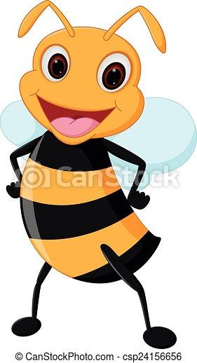 Happy bee cartoon - csp24156656