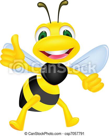 Happy bee with thumb up - csp7057791