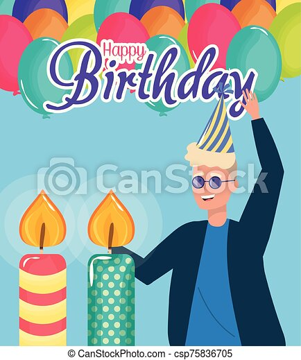 happy birthday, blond man with candles balloons celebration party event decoration - csp75836705