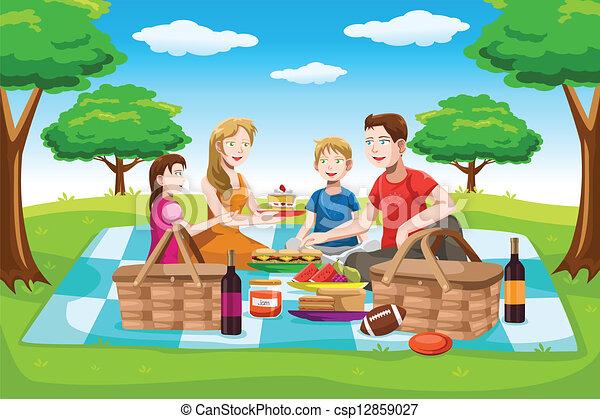 Happy family having a picnic - csp12859027