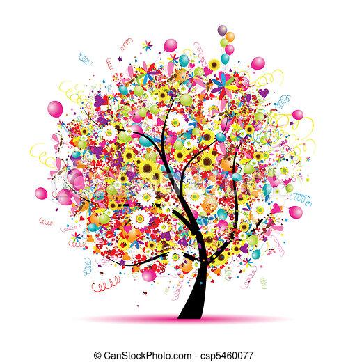 Happy holiday, funny tree with balloons - csp5460077