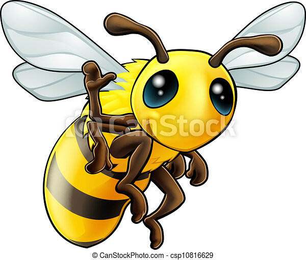 Happy waving cartoon bee - csp10816629