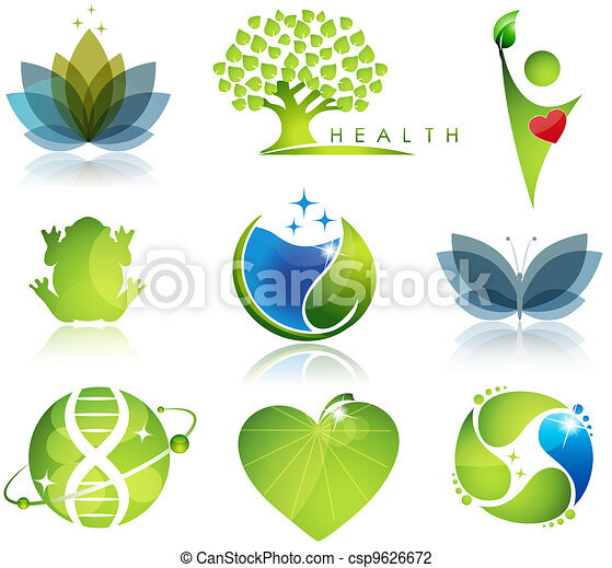 Health-care and ecology symbols - csp9626672