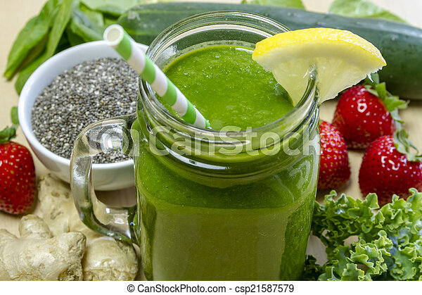 Healthy Green Juice Smoothie Drink - csp21587579