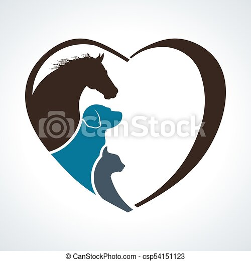Heart Animal Love. Horse, Dog and Cat Together - csp54151123