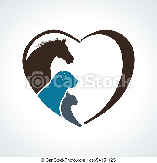 Heart Animal Love. Horse, Dog and Cat Together - csp54151125