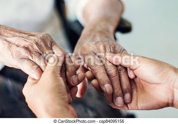 Helping hands elderly home care. - csp84095156