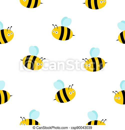 honey bee seamless pattern vector honeycomb scarf isolated cartoon repeat background tile wallpaper illustration - csp90043039