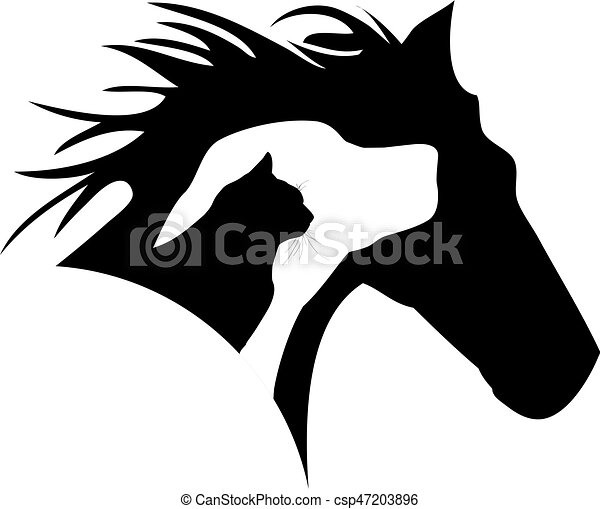 horse dog cat logo - csp47203896