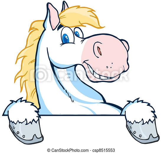Horse Mascot Cartoon Head - csp8515553