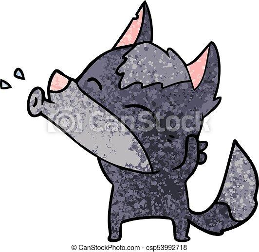 howling wolf cartoon - csp53992718