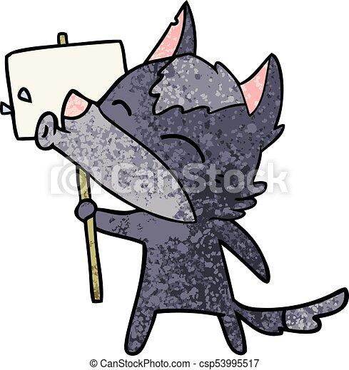 howling wolf cartoon - csp53995517