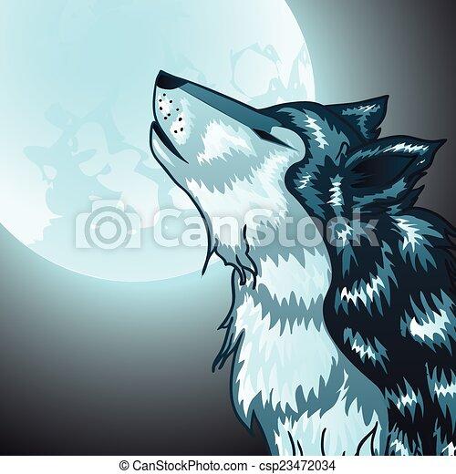Howling Wolf Head - csp23472034