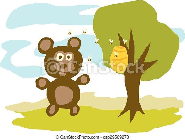Hungry Bear Eats Honey - csp29569273