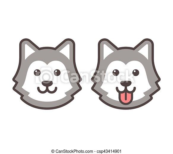 Husky head icons - csp43414901