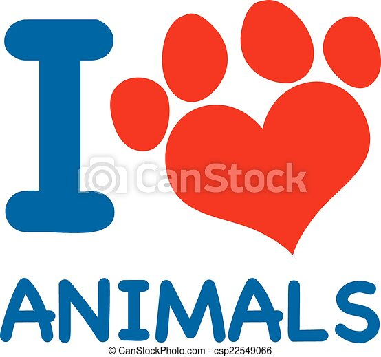I Love Animals Text With Heart Paw - csp22549066