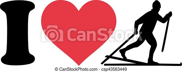 I love Cross country ski silhouette - csp43563449