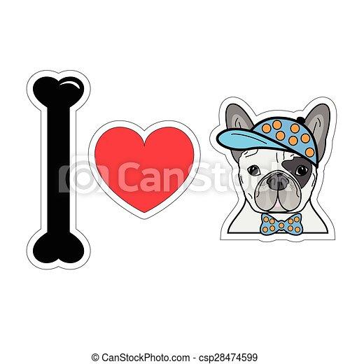 I love French bulldog hipster 2 - csp28474599