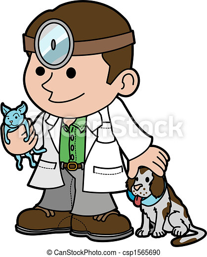 Illustration of veterinarian with animals - csp1565690